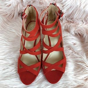 Franco Sarto | NWOT Red Suede Caged Heels